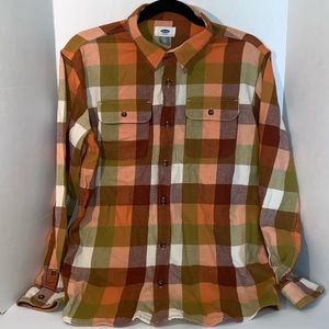 Old Navy Husky Boys Size 14 16 Orange Tan Plaid
